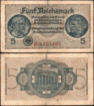 GERMANY (Ελλ.κατοχή), 5 REICHSMARK UNC