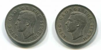 NEW ZEALAND SET 2 FLORIN 1949 & 1950