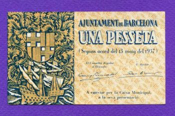 BARCELONA Una Pesseta 1937 AUNC