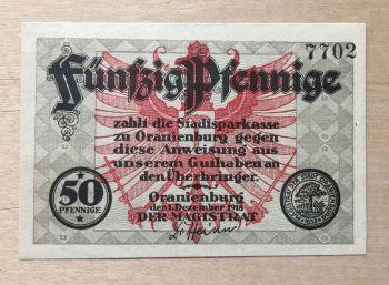 ORANIENBURG 50 Pfennig 1918 AUNC
