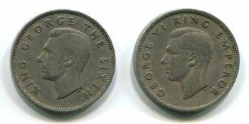 NEW ZEALAND SET 2 FLORIN 1947 & 1948