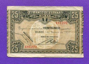 BILBAO 25 Pessetas 1937
