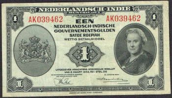 Netherlands Indies 1 Gulden 1943 Wilhelmina P111 @XF