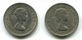 NEW ZEALAND SET 2 FLORIN 1964 & 1965