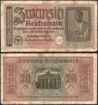 GERMANY (Ελλ.κατοχή), 20 REICHSMARK με την σβάστικα, 1942 UNC