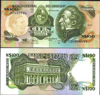 URUGUAY 100 NUEVOS PESOS 1987 P 62 UNC
