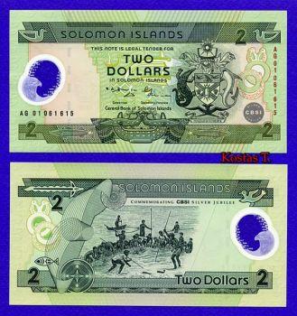 SOLOMON ISLANDS 2 DOLLARS POLYMER 2001 P-23 UNC