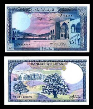 LEBANON 100 LIVRES 1988 P 66 UNC