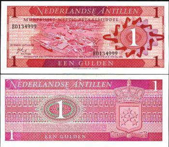 NETHERLAND ANTILLES 1 GULDEN 1970 P 20 UNC