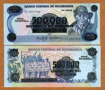 NICARAGUA 500.000 CORDOBAS ON 20 CORDOBAS 1990 P-163  UNC