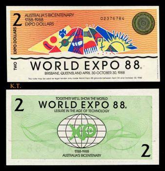 AUSTRALIA 2 DOLLARS BICENTENNIAL WORLD EXPO 1988 UNC