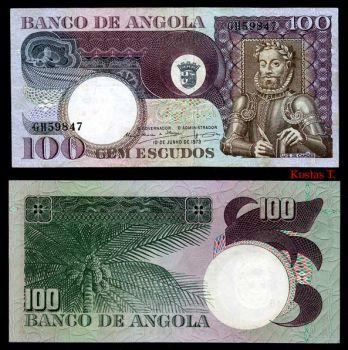 ANGOLA 100 ESCUDOS 1973 P 106 UNC