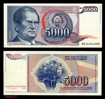 YUGOSLAVIA 5000 DINARS 1985 (JOSIP TITO ) AUNC