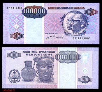 ANGOLA 100.000 KWANTZAS 1995 P-139 UNC