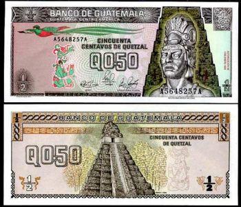 GUATEMALA 0.5 QUETZAL 1989 P 72 UNC