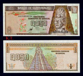 GUATEMALA 0.50 QUETZAL 1998 P-98 UNC