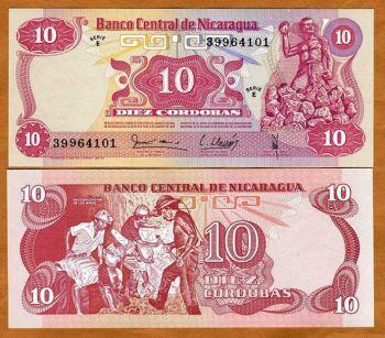 NICARAGUA 10 CORDOBAS 1979 P-134 UNC