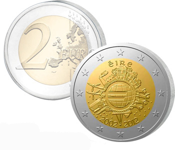 IRELAND  2 EURO 2012   10 Years of EURO cash  UNC