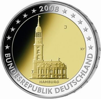 Germany- 2 Euro 2008 Commemorative Federal State of Hamburg  F  UNC