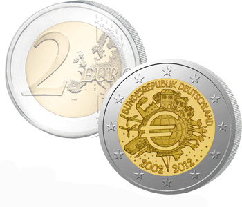 GERMANY  2 EURO 2012   10 Years of EURO cash  UNC