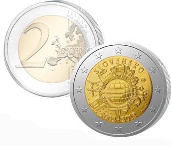 SLOVAKIA  2 EURO 2012   10 Years of EURO cash  UNC
