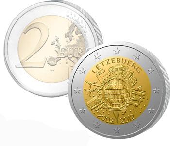 LUXEMBURG  2 EURO 2012   10 Years of EURO cash  UNC