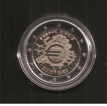 Cyprus: 2 EURO 2012 Commemorative 10 years EURO in capsule BU!