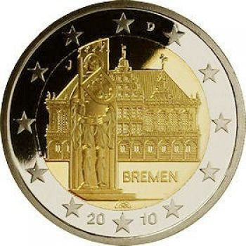 GERMANY 2010 5 X 2 EURO City Hall and Roland MINT A-D-F-G-J