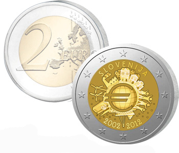 SLOVENIA  2 EURO 2012   10 Years of EURO cash  UNC