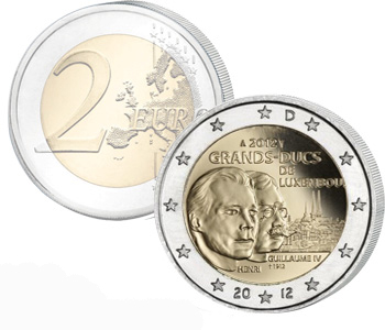 LUXEMBOURG 2 EURO 2012 Death of William IV