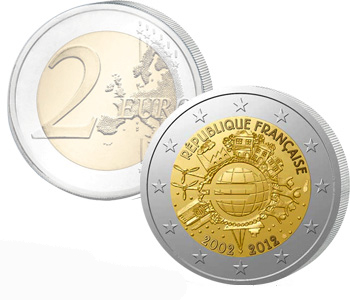 FRANCE  2 EURO 2012   10 Years of EURO cash  UNC