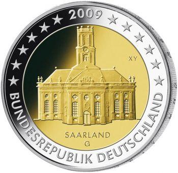GERMANY 2009 5 X 2 EURO SAARLAND  MINT A-D-F-G-J