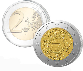 ITALY  2 EURO 2012   10 Years of EURO cash  UNC