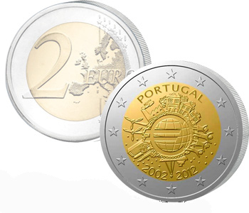PORTUGAL  2 EURO 2012   10 Years of EURO cash  UNC