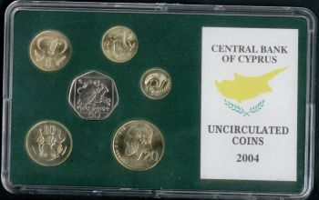 CYPRUS 2004 COMPLETE COINS SET IN OFFICIAL BANK'S CASE