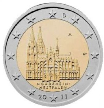 GERMANY 2011 5 X 2 EURO Cologne Cathedral MINT A-D-F-G-J