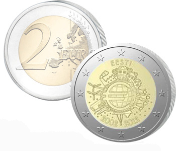 ESTONIA  2 EURO 2012   10 Years of EURO cash  UNC