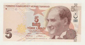 TURKEY - 5 LIRA 2009 UNC - P 222