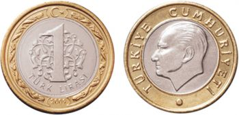 New Turkey 1 Lira coin 2009 UNC