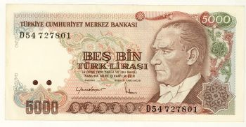 Turkey 5000 Lira series (D) EF
