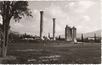 Greece Postcard & Stamp - Athens Temple of Zeus