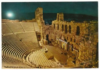 Greece Postcard & Stamp - Athens The Odeon of Herode Atticus