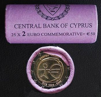 Cyprus 2009 10 years EMU - 25 coins in a roll