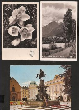 Austria: Lot of three beautiful cards with stamp  and text.