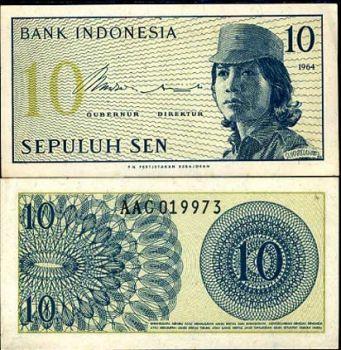 INDONESIA 10 SEN 1964 P 92 UNC