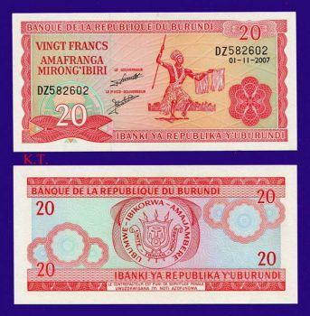 BURUNDI 20 FRANCS 2007  UNC