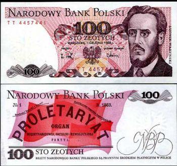 POLAND 100 ZLOTYCH 1986-1988  UNC