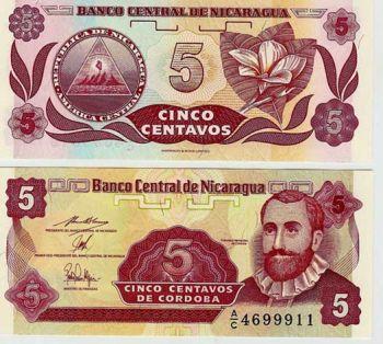 Nicaragua 5 Centavos 1991 P 168 Unc