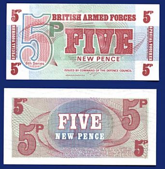 BRITISH ARMED FORCES 5 NEW PENCE PM 47 UNC