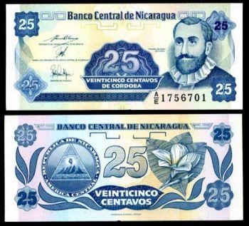 NICARAGUA 25 CENTAVO 1991 P 170 UNC